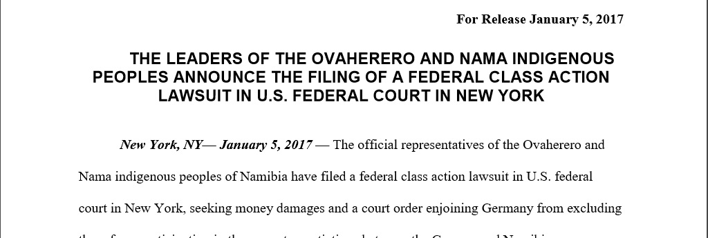 05.01.2017 | Herero und Nama verklagen Deutschland / Ovaherero and Nama file lawsuit in New York