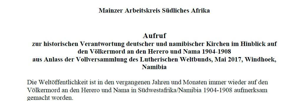 MAKSA:  Aufruf zur historischen Verantwortung deutscher und namibischer Kirchen